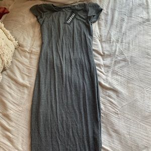 Boohoo Grey Midi Bodycon Dress